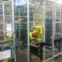 2013 Fanuc M20IA CNC Robot,  6 axis, with safety cage included. Less than 1500 hours of use, mint