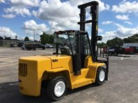 "2004 Yale GDP155CA   Perkins Diesel   212"" 2 stage mast / 147"" lowered; Fork Positioner; 96"" forks   Solid Tires (80%) with 7,085 hours"
